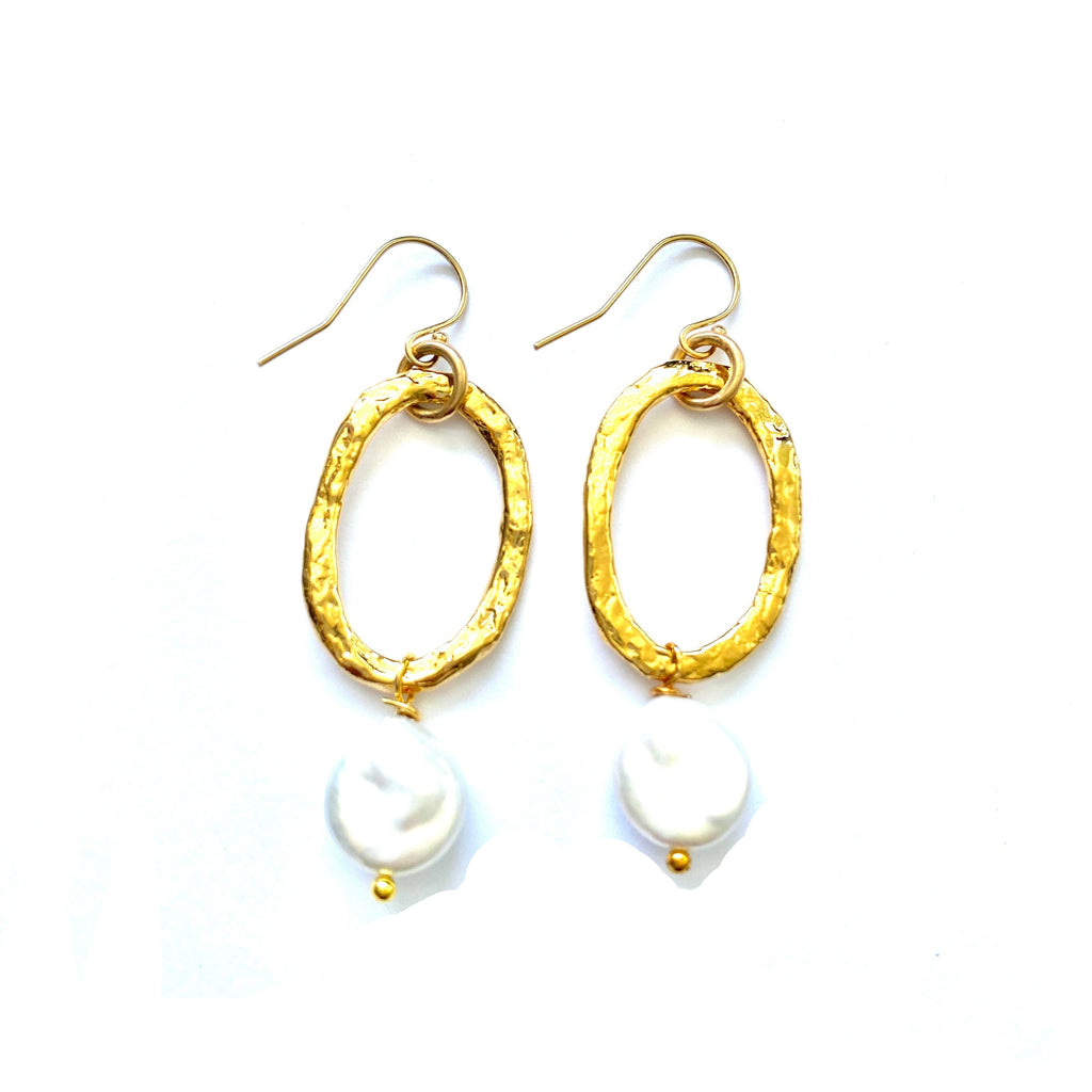 Oval + Pearl Earrings