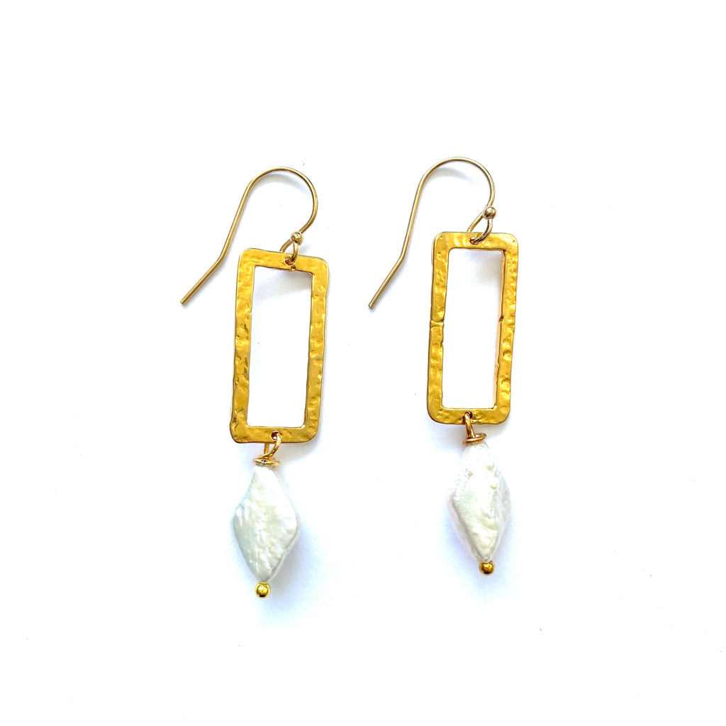 Square + Pearl Earrings