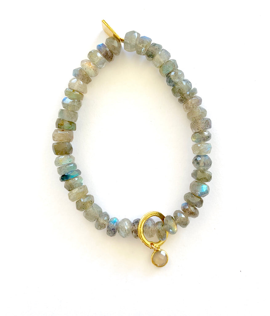 Labradorite Bracelet with tiny clear Quartz stone