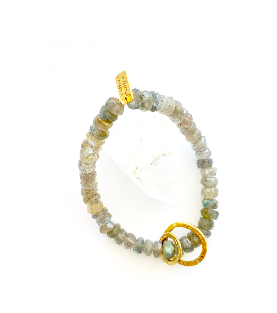 Labradorite Bracelet with two Rings