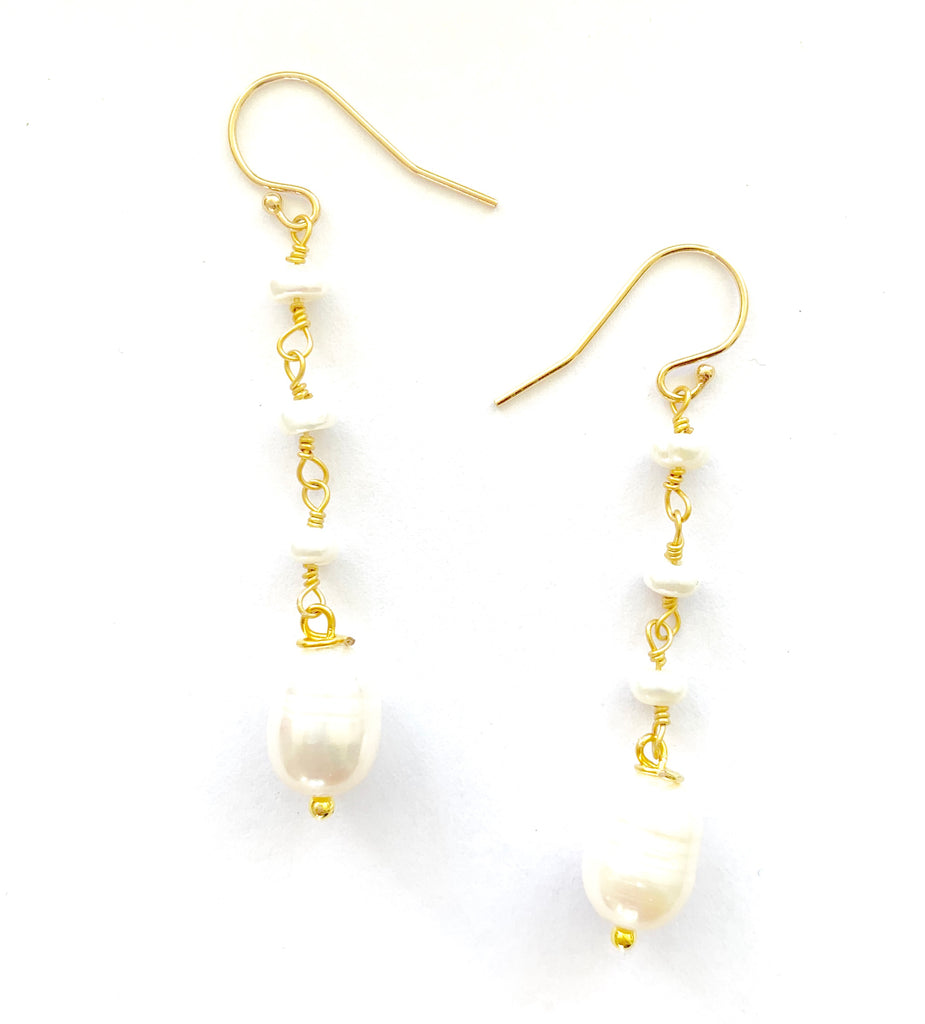 Pearl wire-wrap Drop Earrings