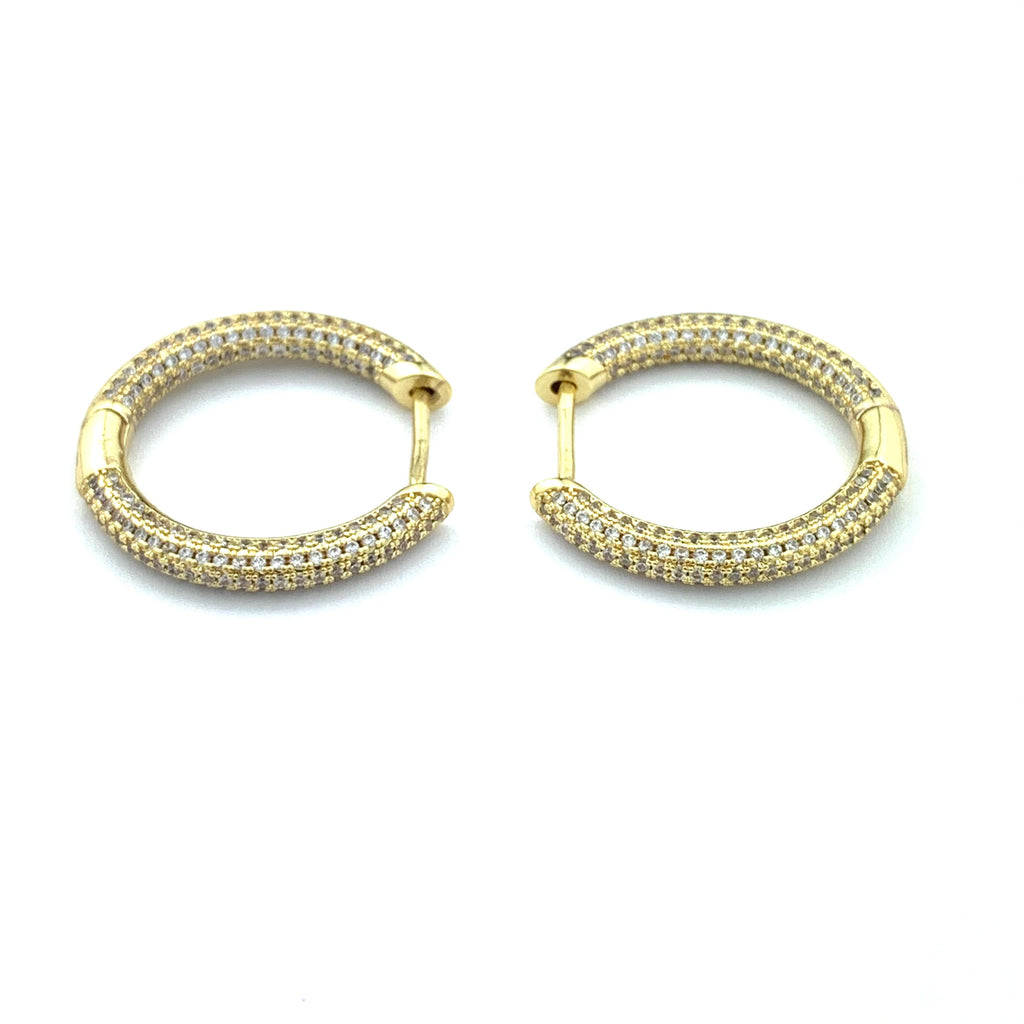 Jackie Diamond Gold Hoop Earrings
