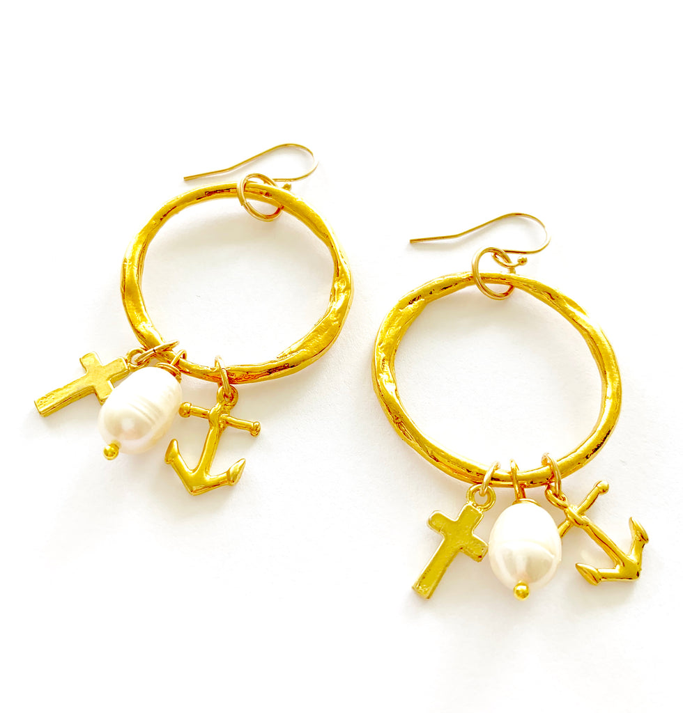Cross Mother of Pearl charm Hoop Earrings
