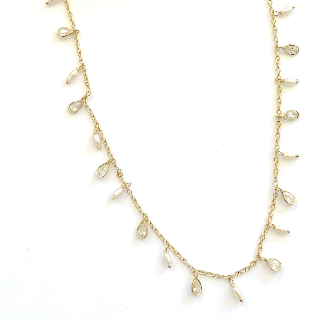 Pearl & CZ crystal Necklace