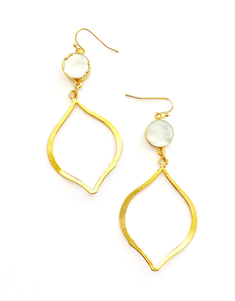 Pearl Tear Drop gold Earrings