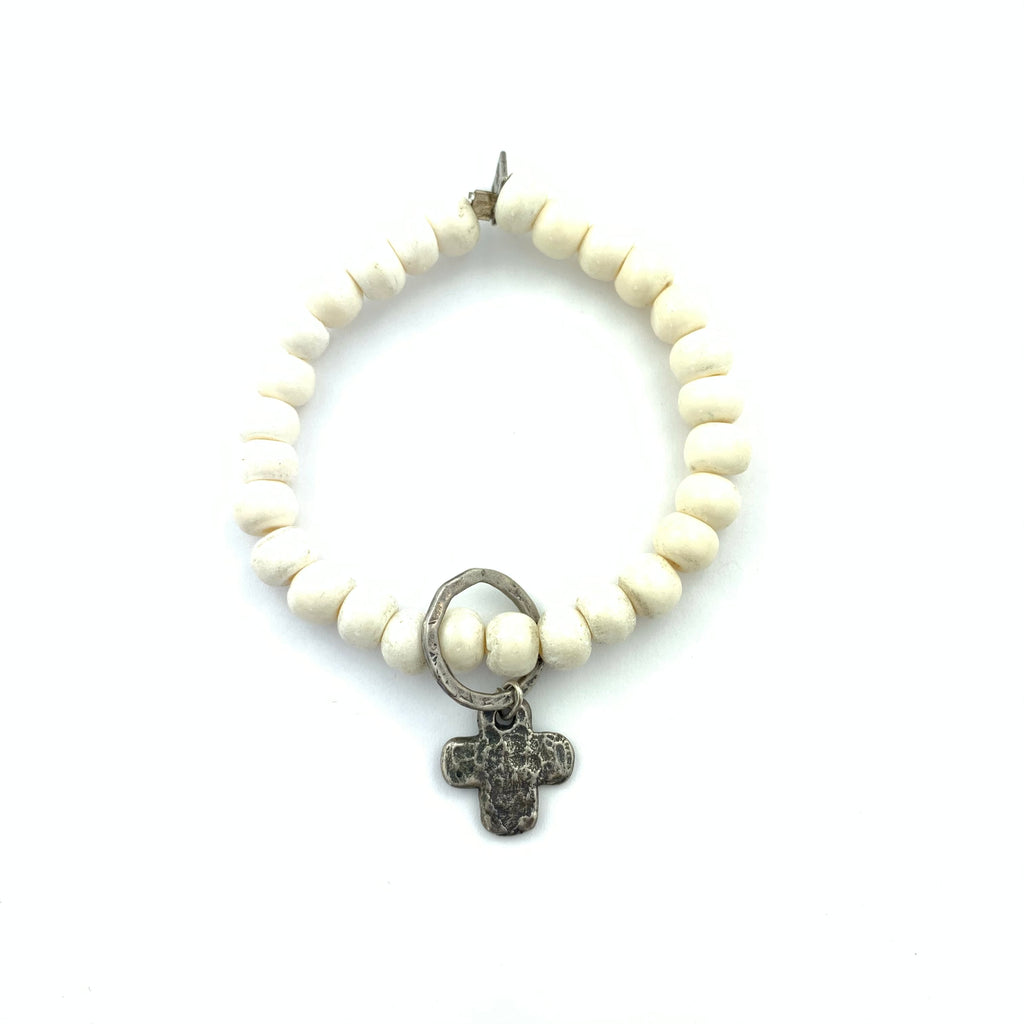 Bone Bracelet with Hammered ring & Cross