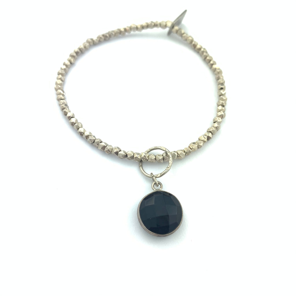 Black Onyx & German Silver Bracelet