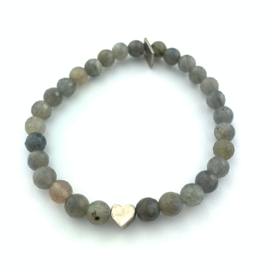 Labradorite & Heart Beaded Bracelet
