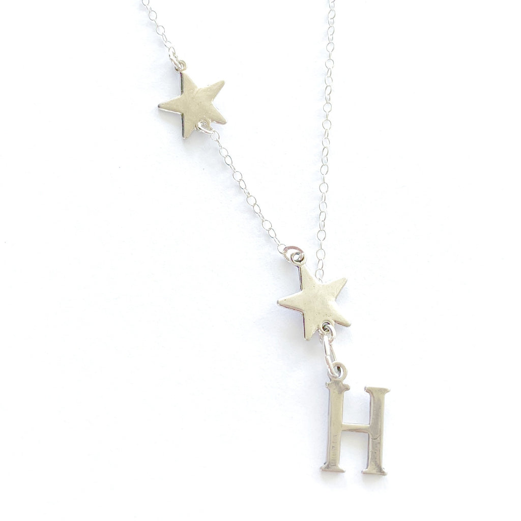 Super Star Initial Sterling Silver Necklace