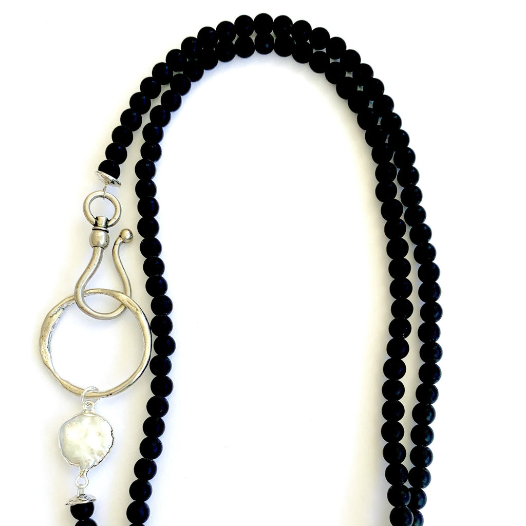 Black Onyx beaded Necklace with Mother of Pearl