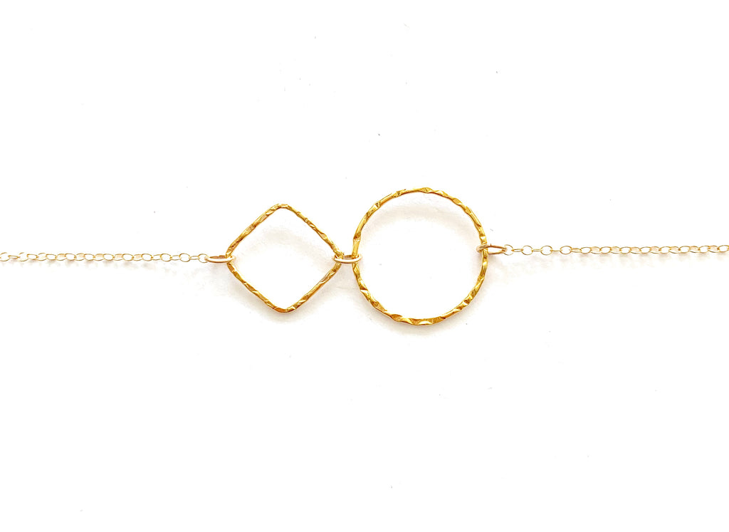 Linked Tiny Sparkle Ring & Square Necklace