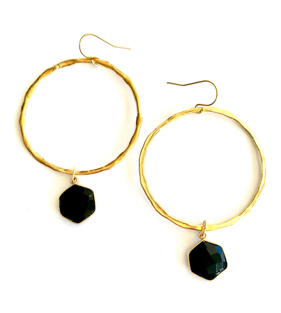 Black Onyx Stone gold Hoop Earrings
