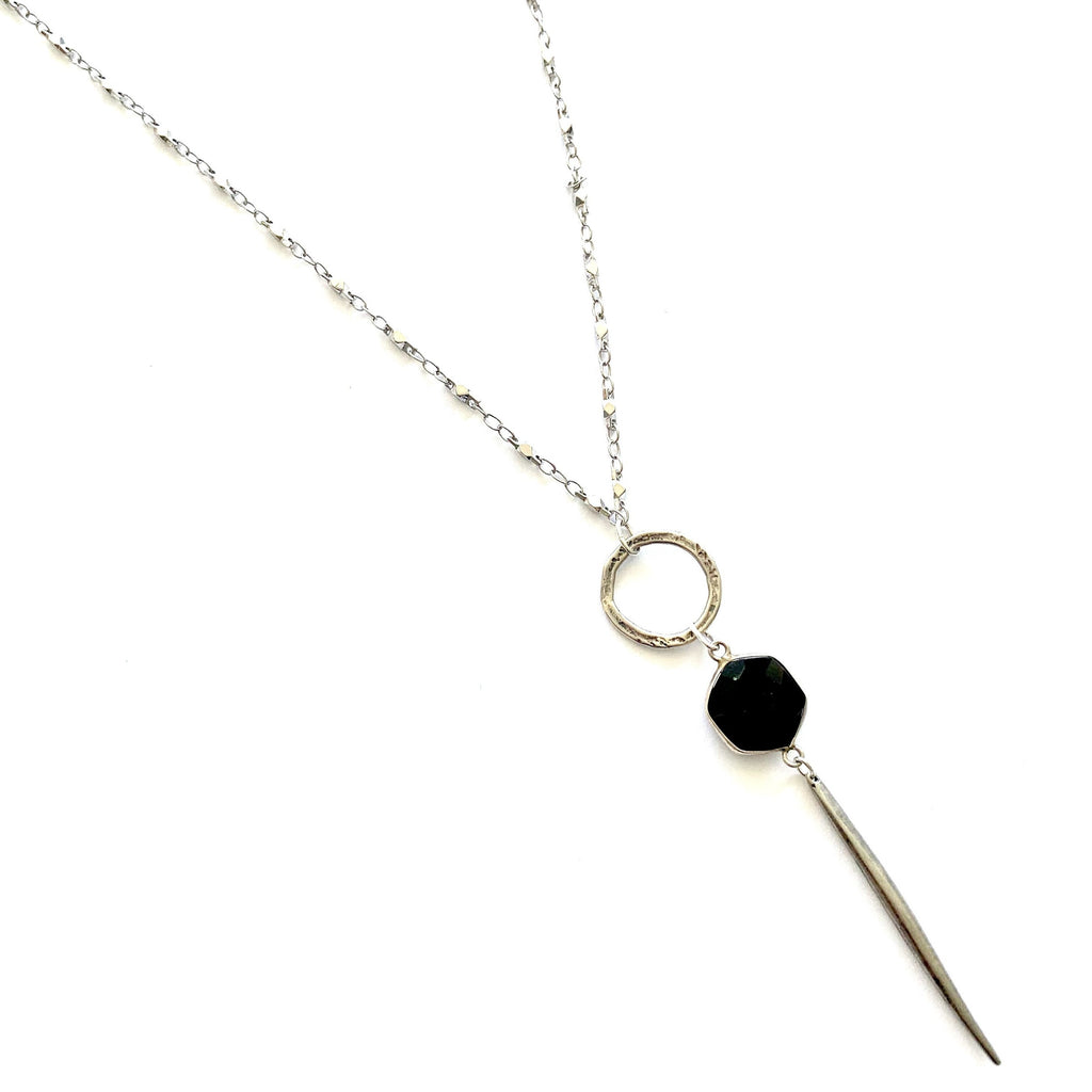 Black Onyx Spike Juliana Chain Long Necklace