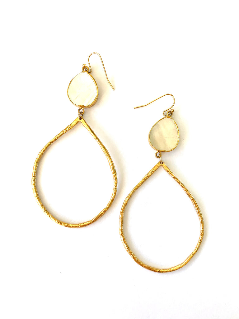 Pearl Tear Drop hammered finish gold Earrings