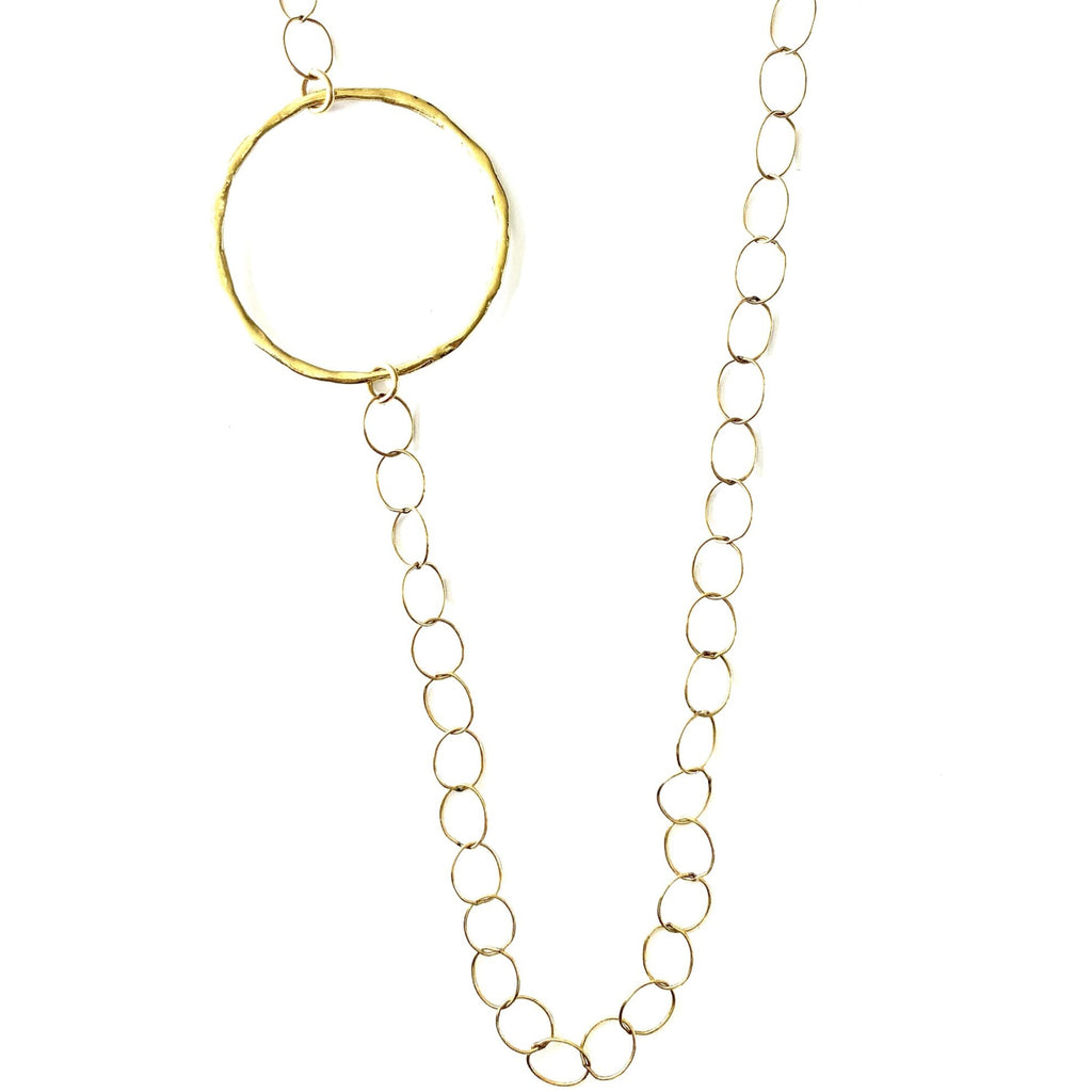 Loop Chain Ring Long Necklace