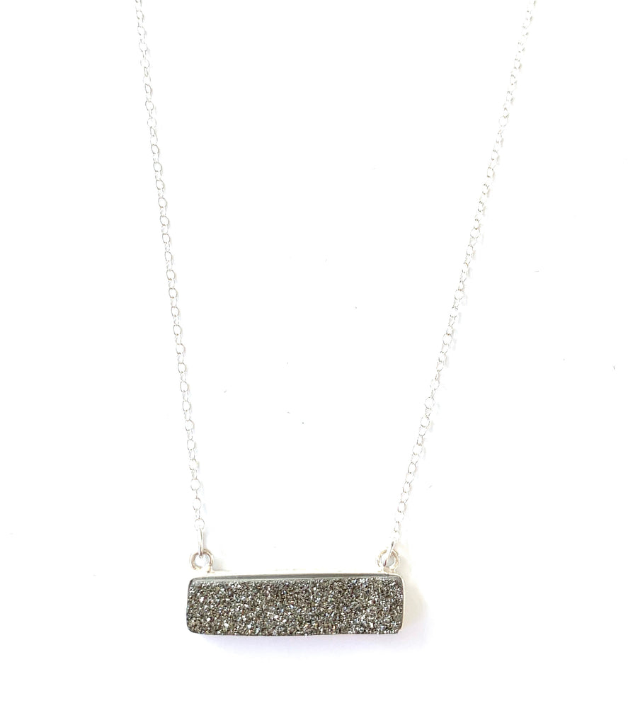 Druzy Bar Crystal Necklace