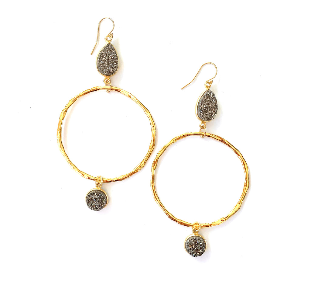 Double Druzy Hoop Gold Earrings