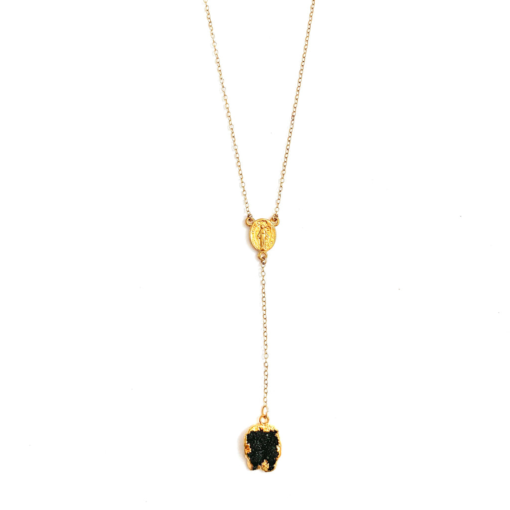 Mother Mary Druzy Lariat Necklace