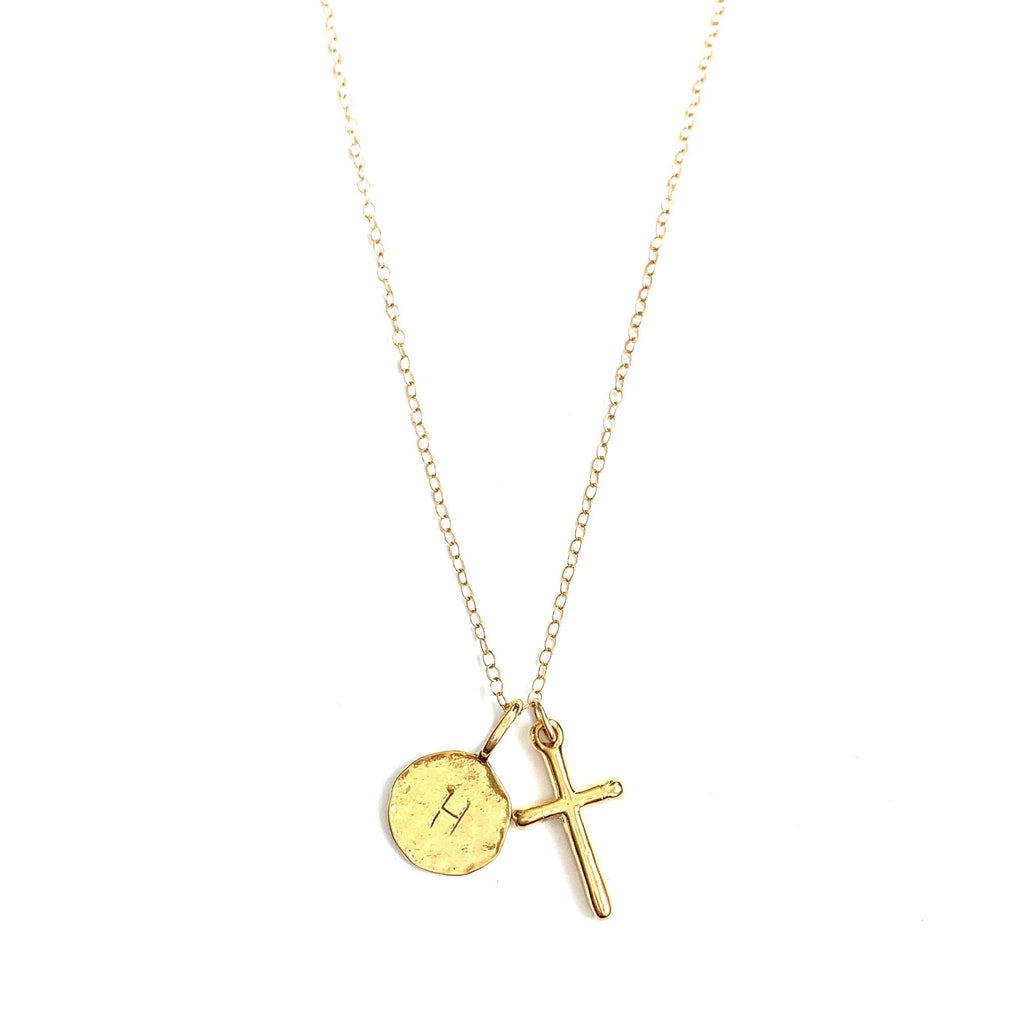 Cross Initial Gold Necklace