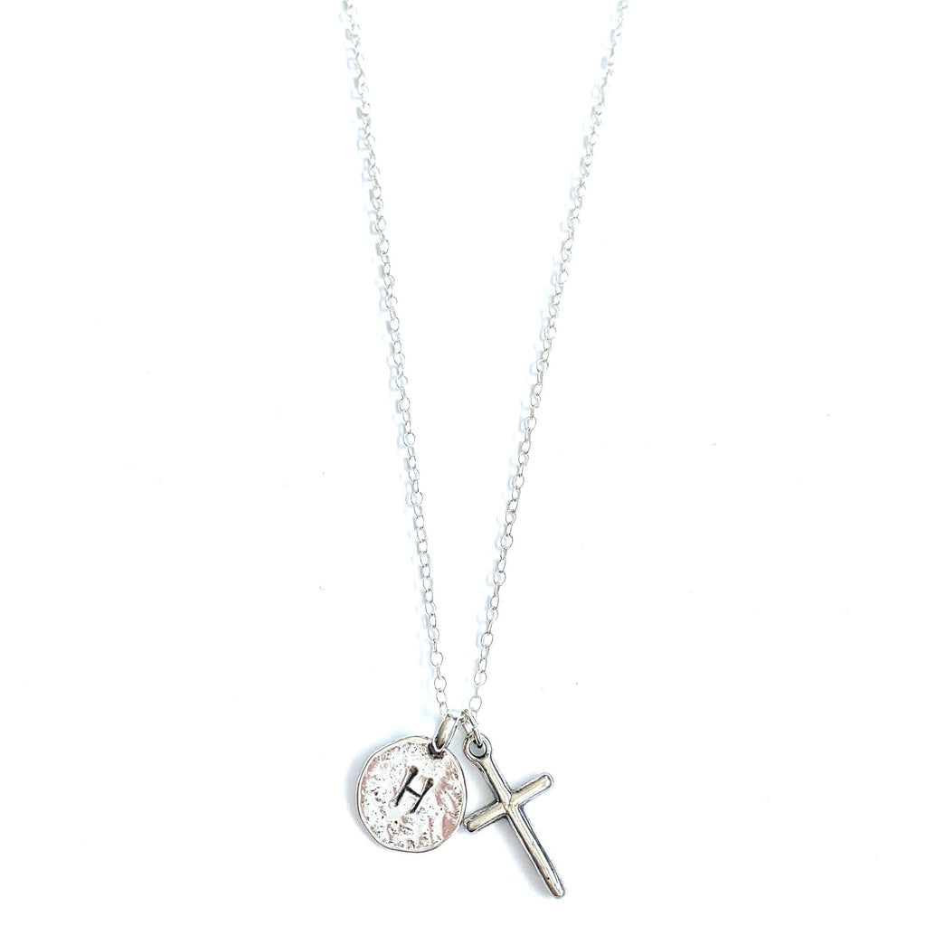 Cross Initial Sterling Silver Necklace