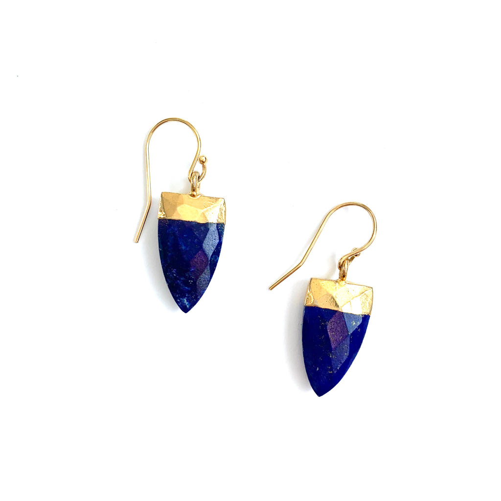 Lapis Lazuli Arrow stone gold Earrings