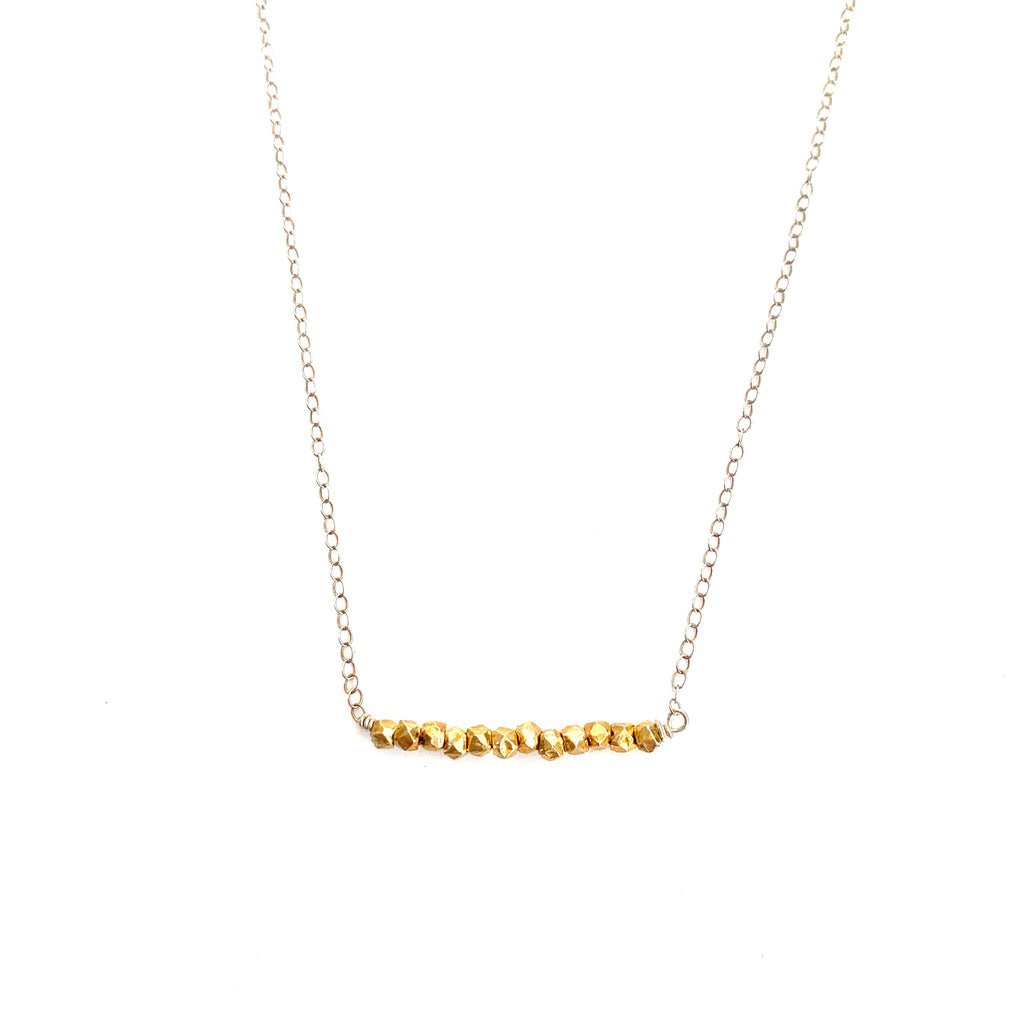 German Gold Chunk Bar Necklace