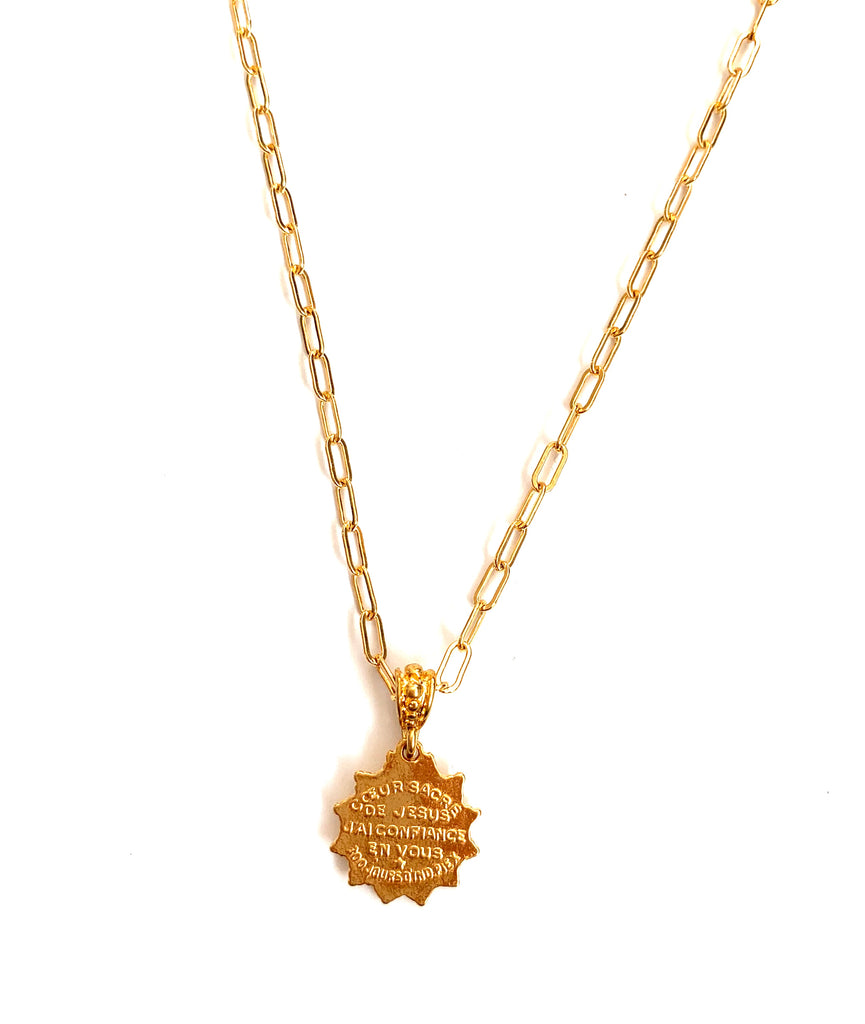 Sacred Heart Gold Link Chain Necklace