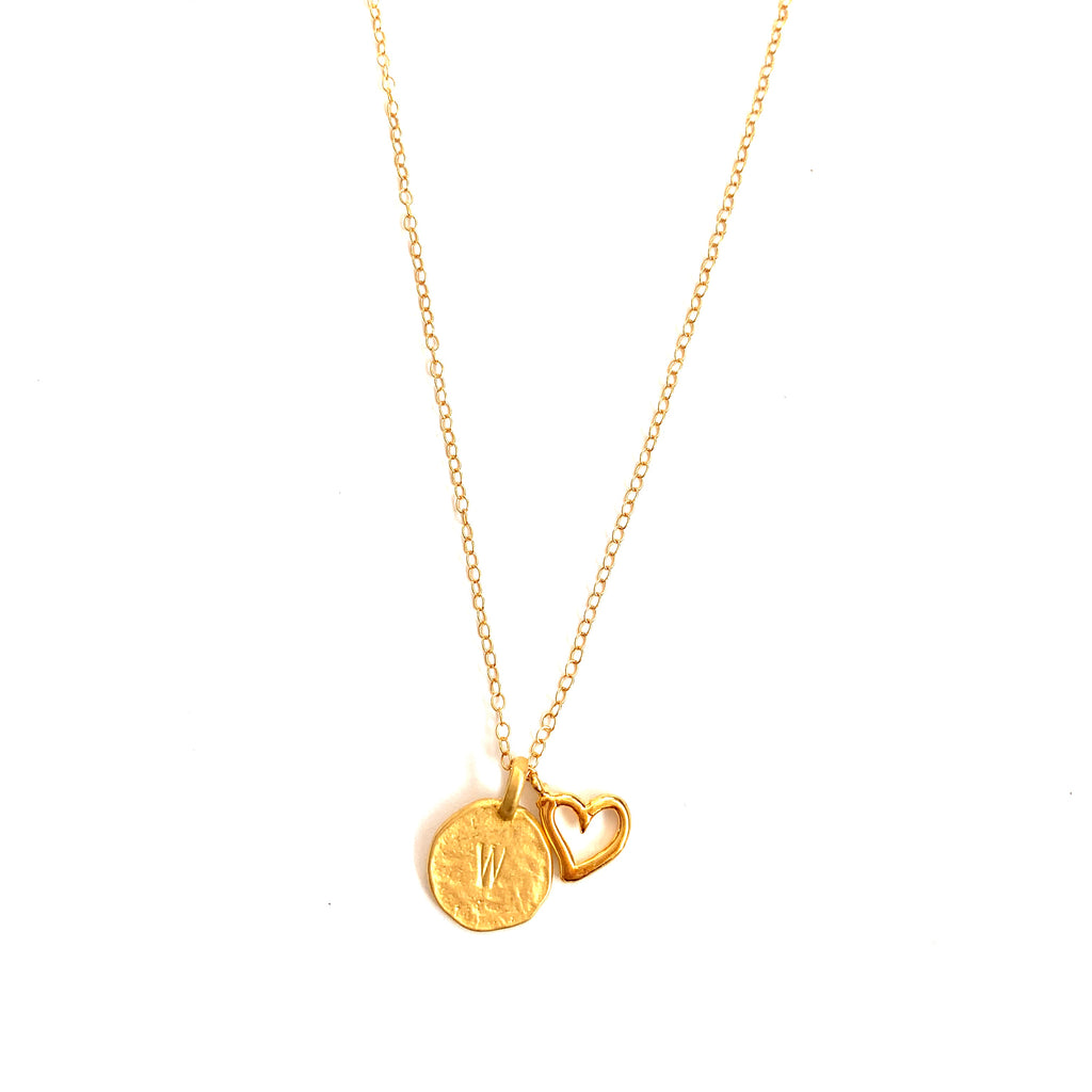 Open Heart Initial Gold Necklace