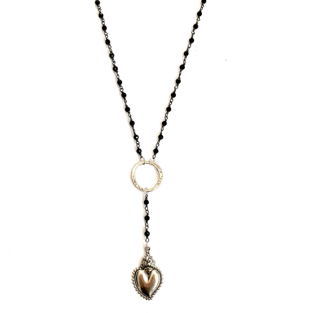 Sacred Heart Lariat Black Onyx wire beaded