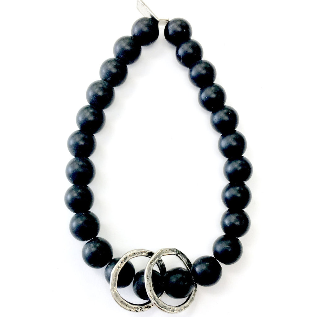 Black Onyx Bracelet with Moving Rings