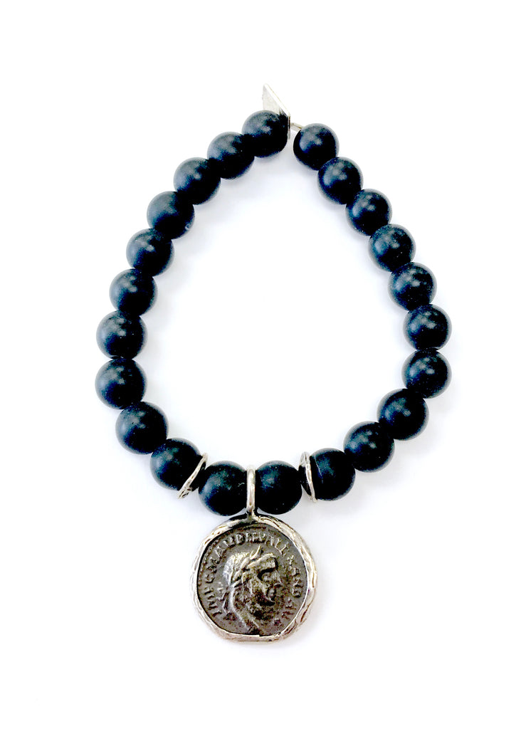 Black Onyx Bracelet with Coin