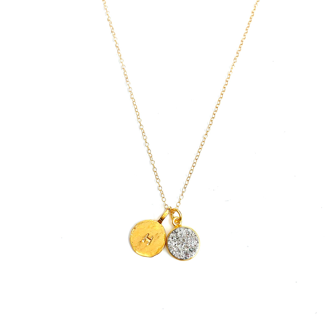 Druzy Initial Gold Necklace