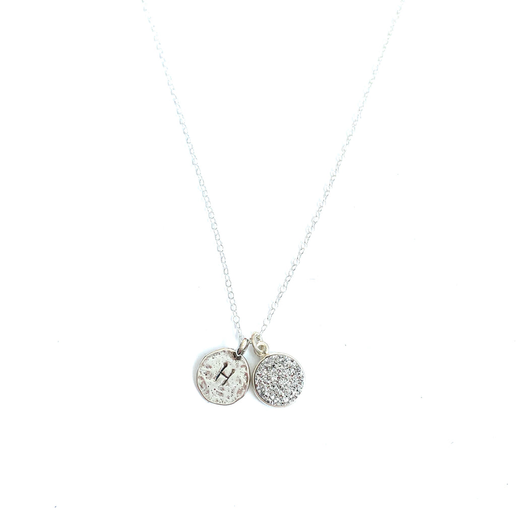 Druzy Initial Sterling Silver Necklace