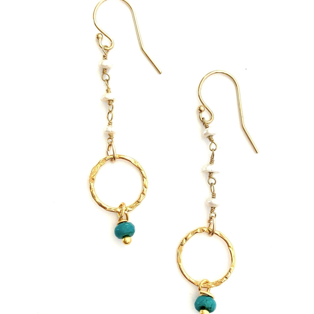 Pearl & Turquoise Wire Wrap Drop Earrings