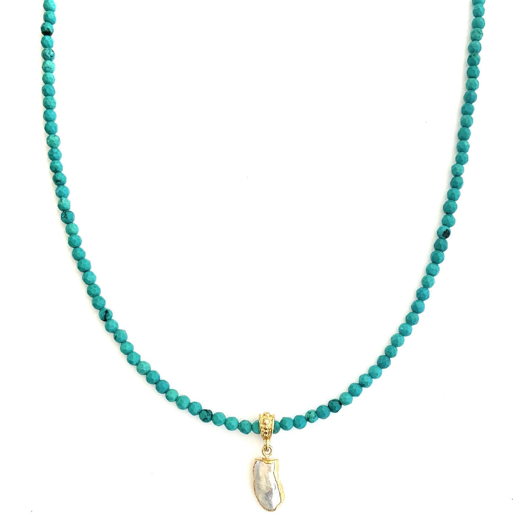 Pearl Turquoise Bitty Bead Necklace