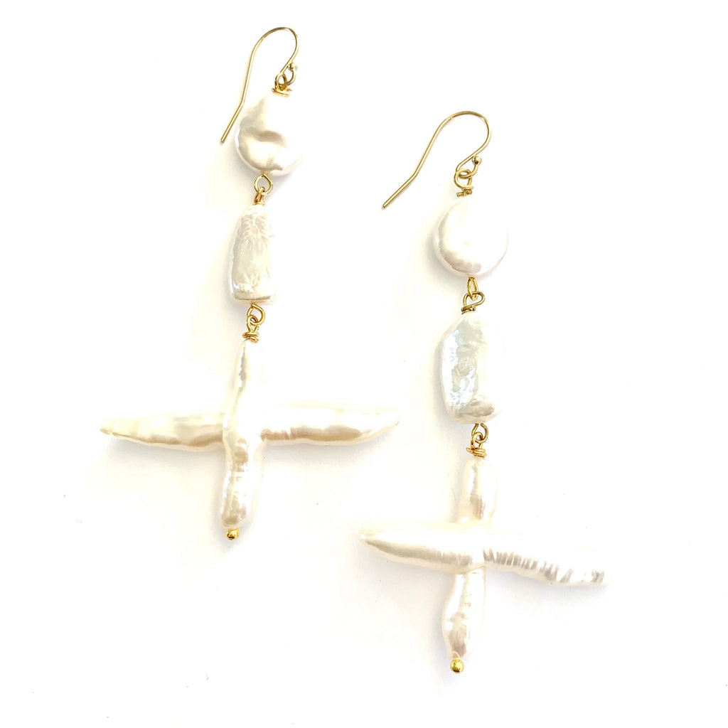 Keshi Pearl Tiered Earrings