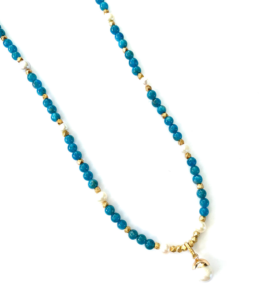 Aquamarine Necklace with Pearls and gold