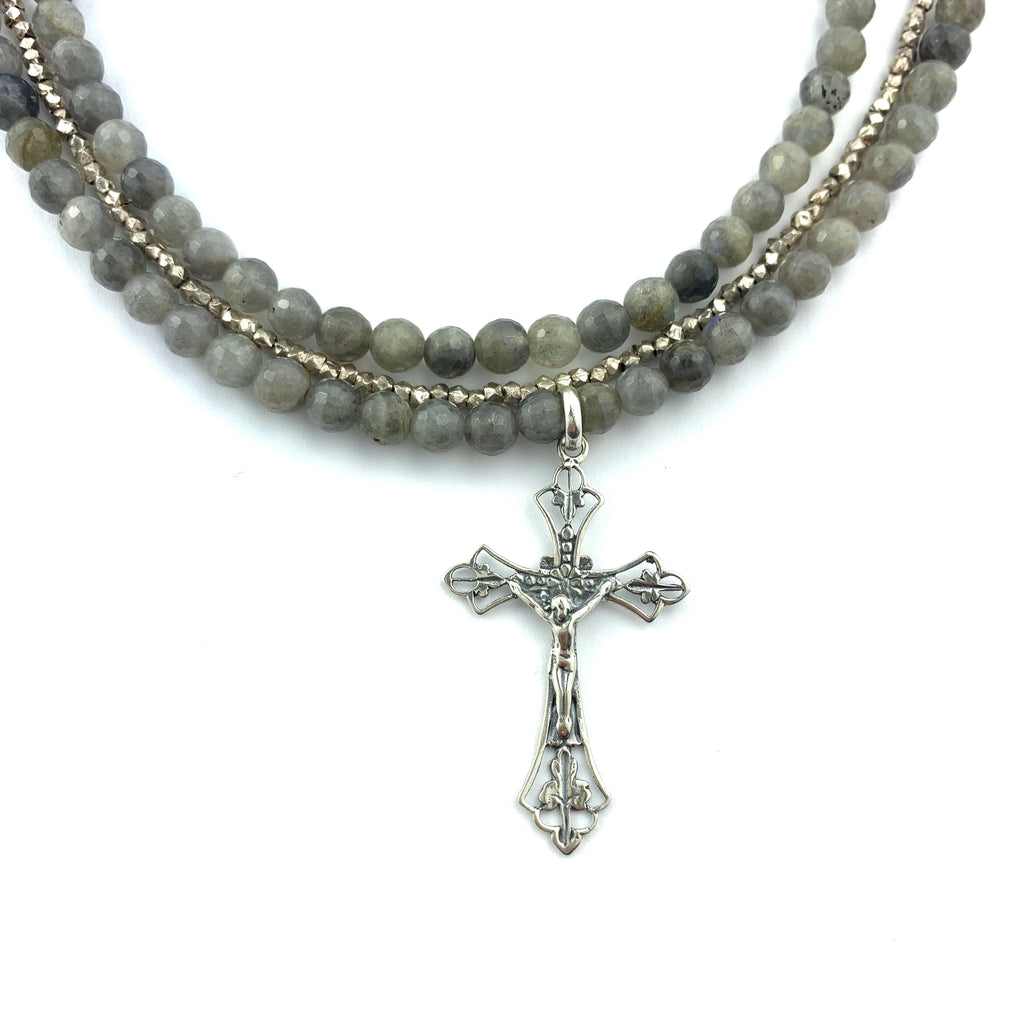 Labradorite & Pyrite Triple Beaded, Sterling Silver Chain with Cross Necklace