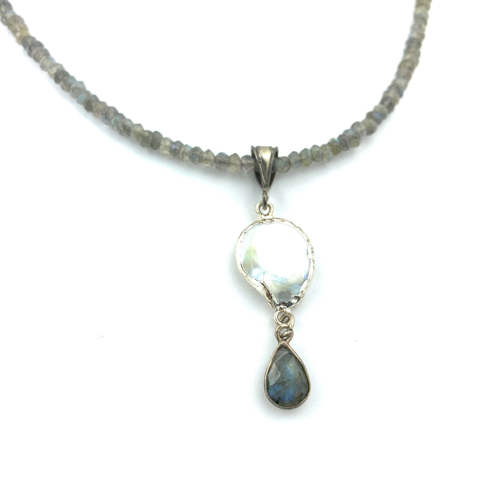 Labradorite Necklace With Sterling Silver Pearl & Lab Tear Drop