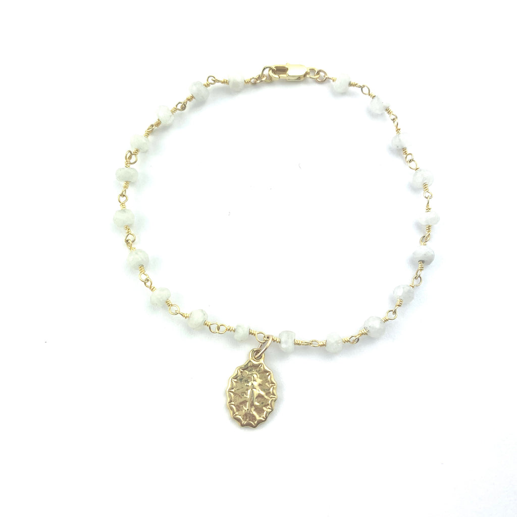 Moonstone Wire Wrapped W/ Mother Mary Charm Bracelet