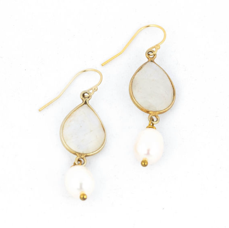 Moon Stone & Pearl drop gold Earrings