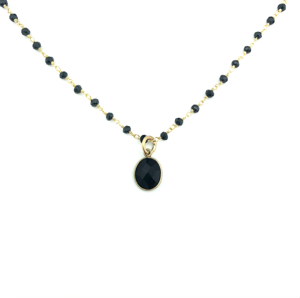 Black Onyx wire Beaded Necklace