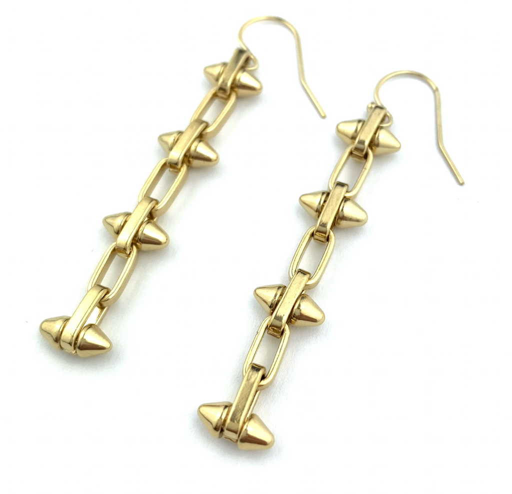 Trendy Spiked Gold Chain Earrings