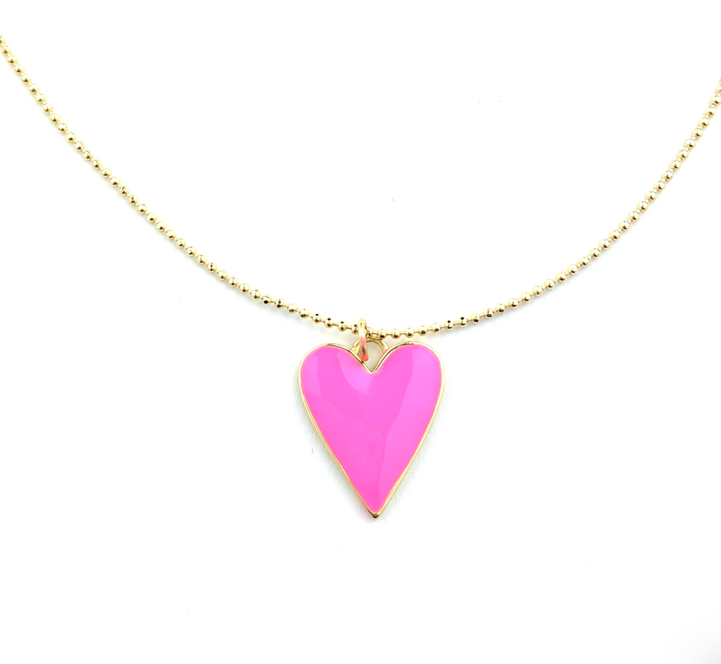 Pink Heart Reversible Necklace
