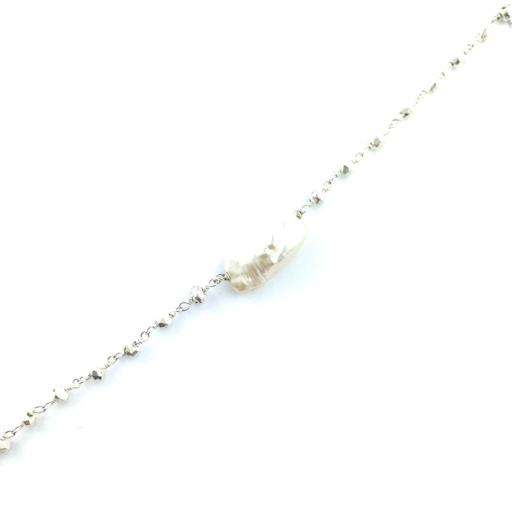 Wire Wrapped Silver Pyrite Chain With Large Pearl