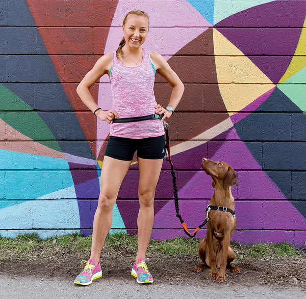 Iron Doggy™ SideKick hands-free leash with Neely Spence Gracey and her dog Strider