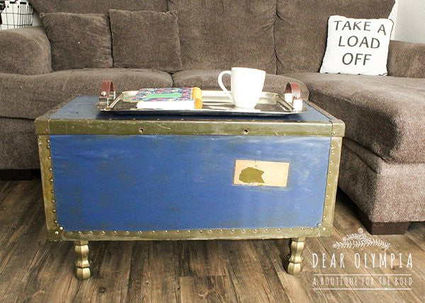 Antique Trunk Turned Coffee Table Makeover