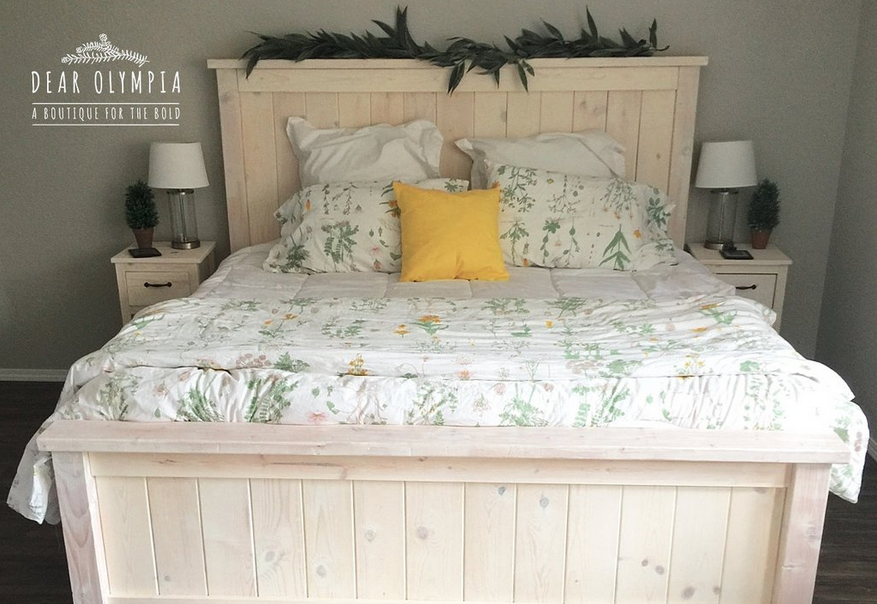 Ana White Farmhouse Bed Stained White Wood Stained Bedroom Furniture ...