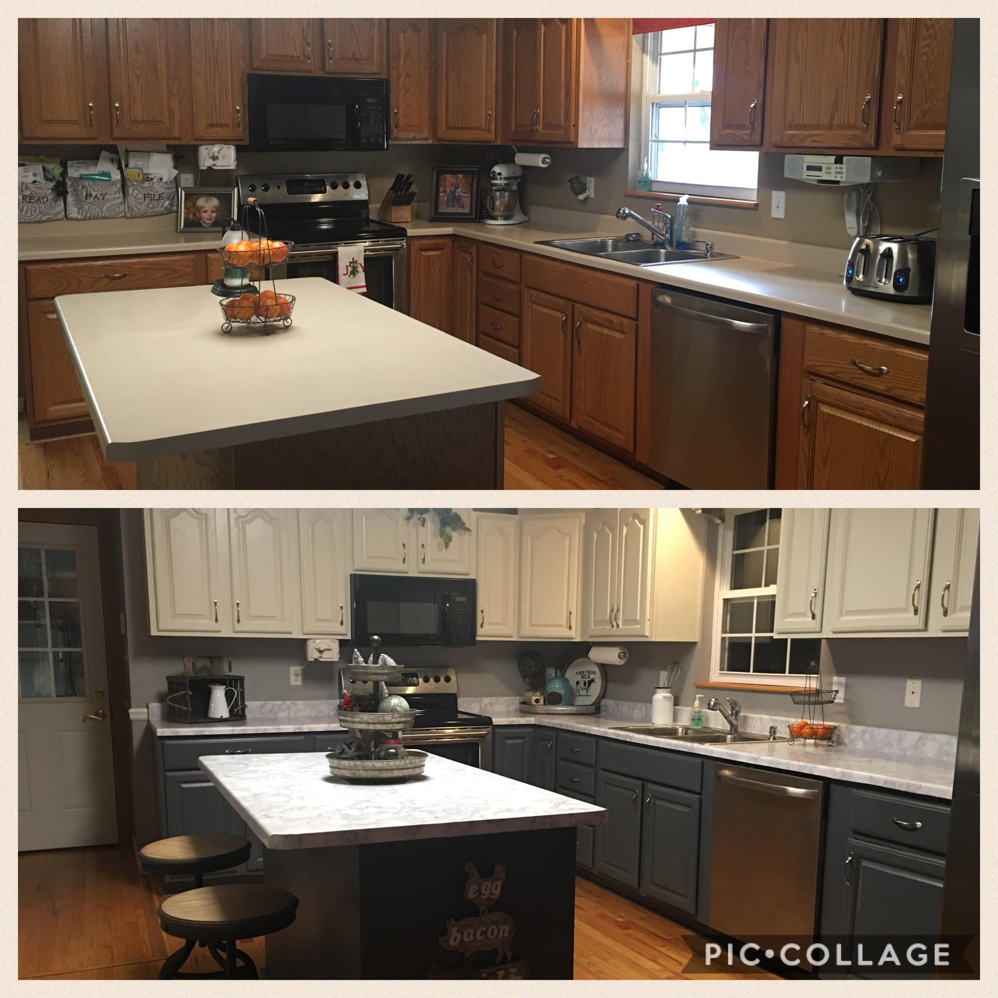 Kitchen Updates Before And After: Two Toned Painted Kitchen Cabinets In Fusion Mineral Paint