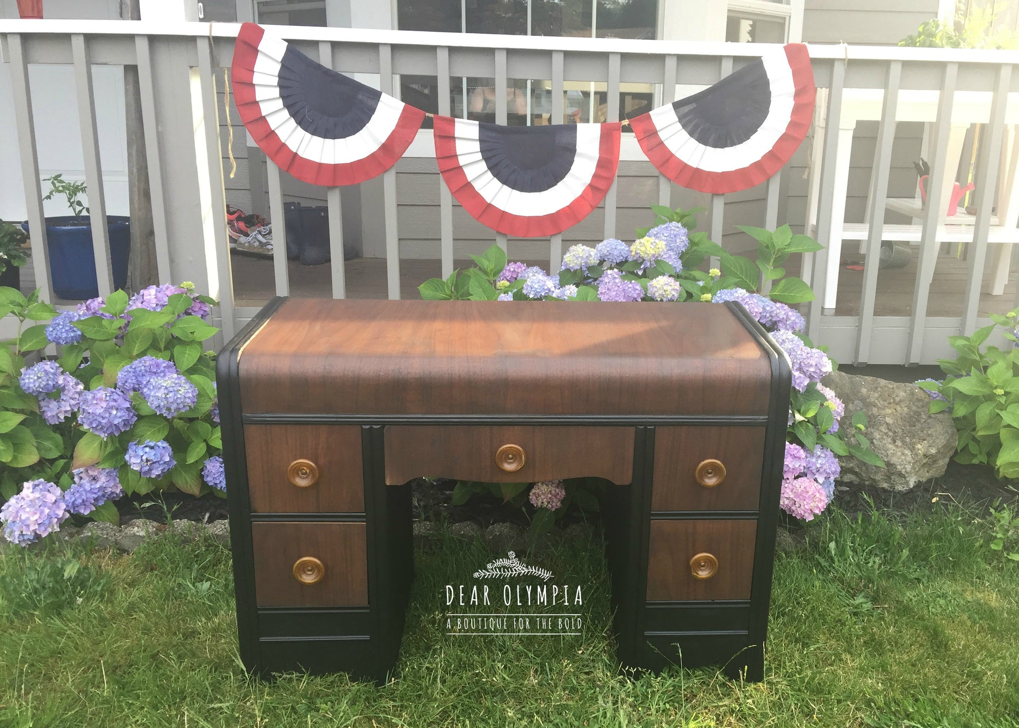 Refinished Antique Waterfall Dresser and Desk